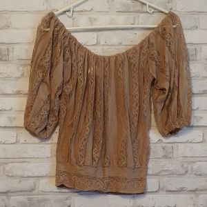 Poof! Sheer Lace Cropped Shirt, size m